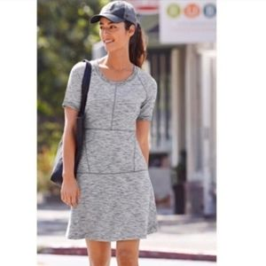 Athleta fit and flare textured gray dress